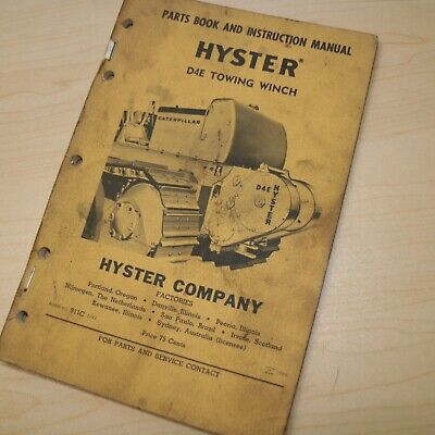 Hyster D4e Cat Tractor Dozer Crawler Winch Parts Owner Operation Operator Manual