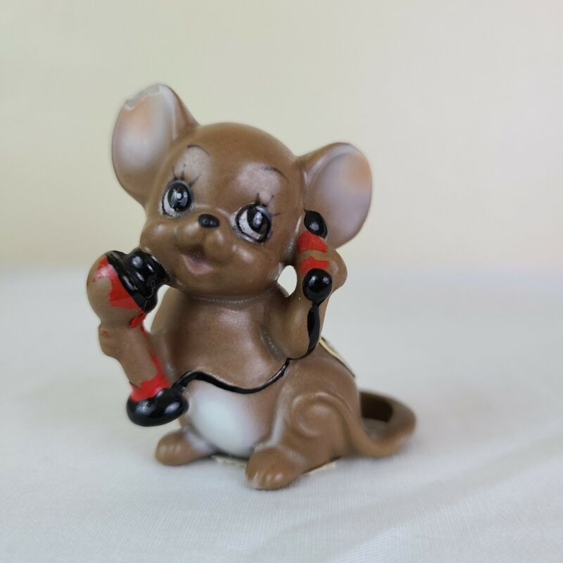 Josef Originals Mouse Figurine - Old Fashioned Red Phone  Sticker / Tag - Talky