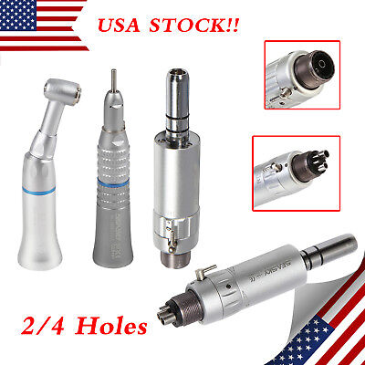 Dental Slow Low Speed Handpiece Contra Angle Push Straight Air Motor 24 Hole Us