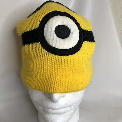 Despicable Me Minions Knit Beanie Hat Is Reversible Stuart To Two Eyes Minion