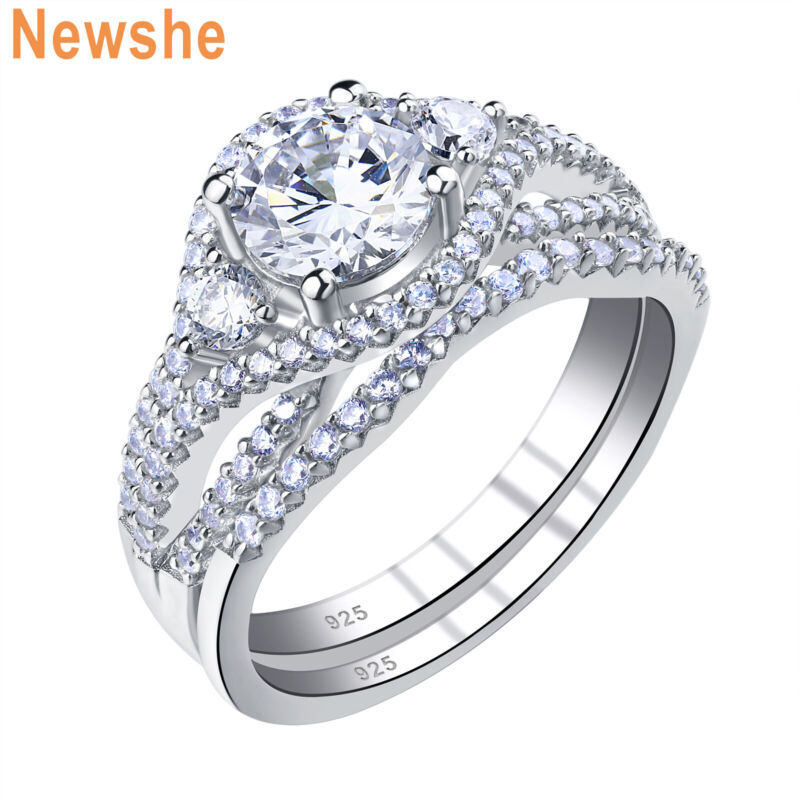 Newshe Wedding Rings Engagement Ring Set Round Aaaa Cz 925 Sterling Silver 5-12