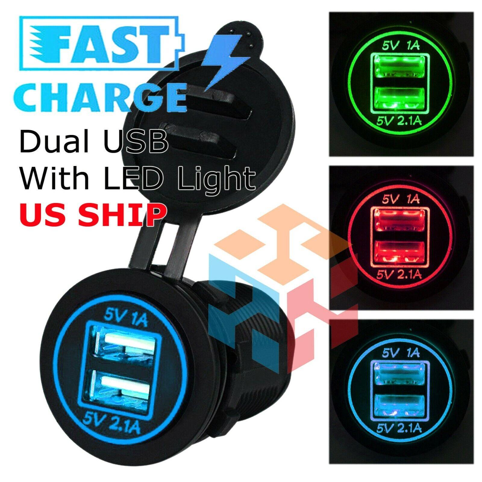12V Car Cigarette Lighter Socket Splitter Dual USB Charger P