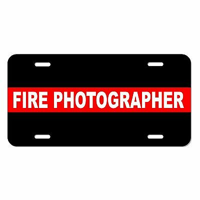 Fire Department PHOTOGRAPHER Thin Red Line License Plate fighters tag METAL LM39 ()