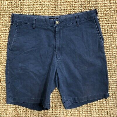 NAUTICA MEN'S CLASSIC FIT CHINO SHORTS NAVY BLUE SIZE W36 ZIP FLY
