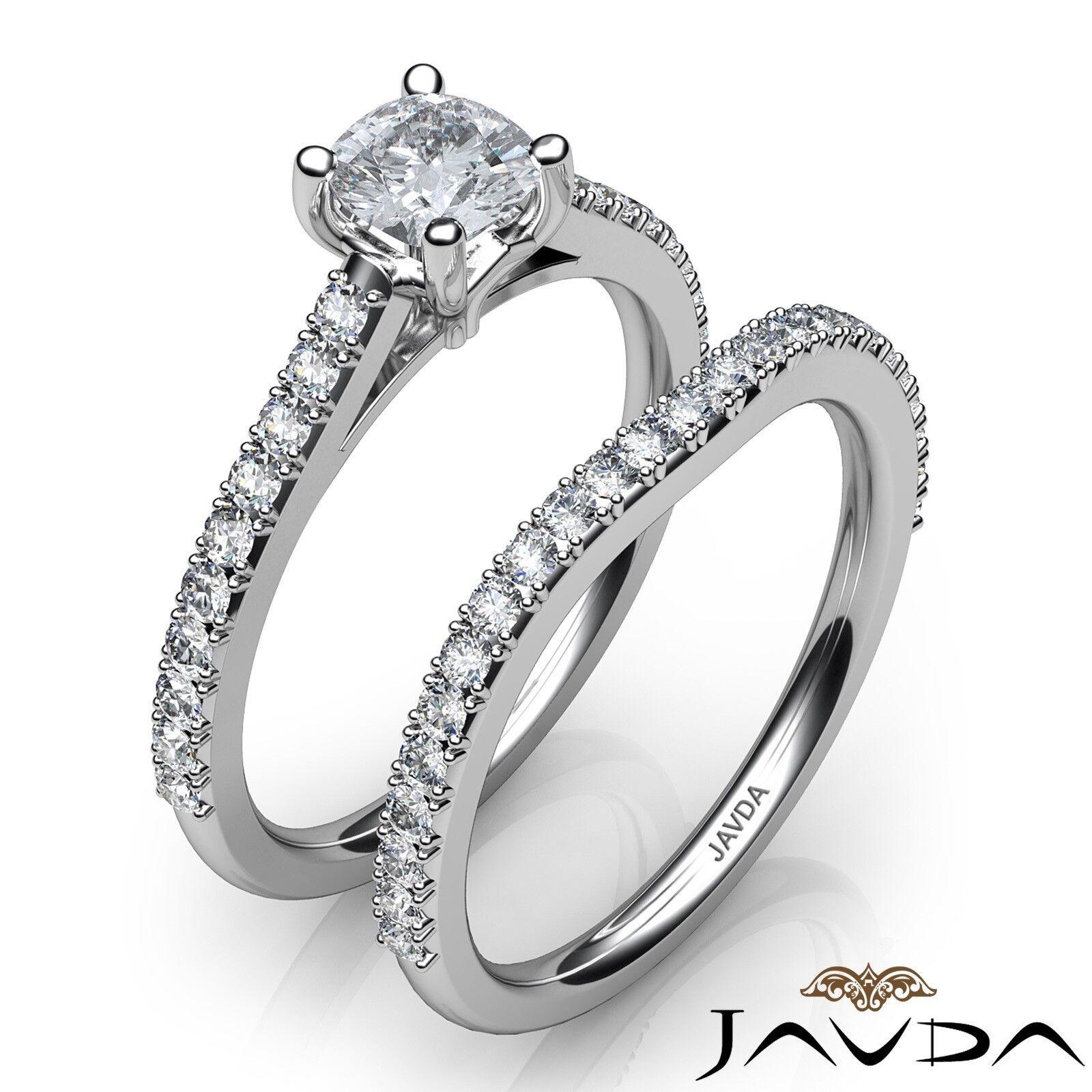 1.51ctw Double Prong Bridal Set Cushion Diamond Engagement Ring GIA F-VS1 W Gold 2