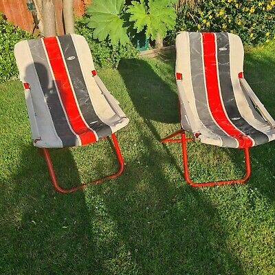 2 x Garden Deck Chair Canvas Style Folding Padded Camping made by A Cerato 1980s