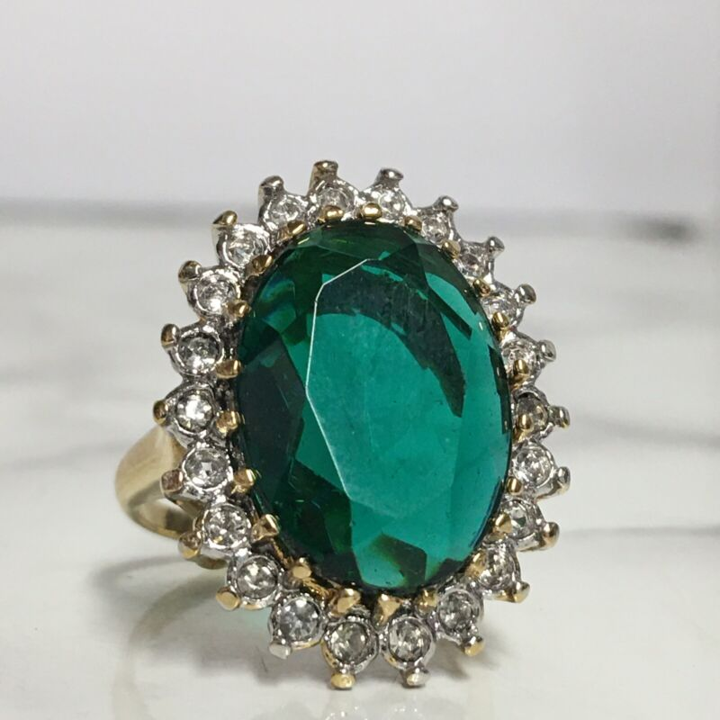 Vintage 18k Yellow Gold Plated Emerald Green Ring Size 7.5