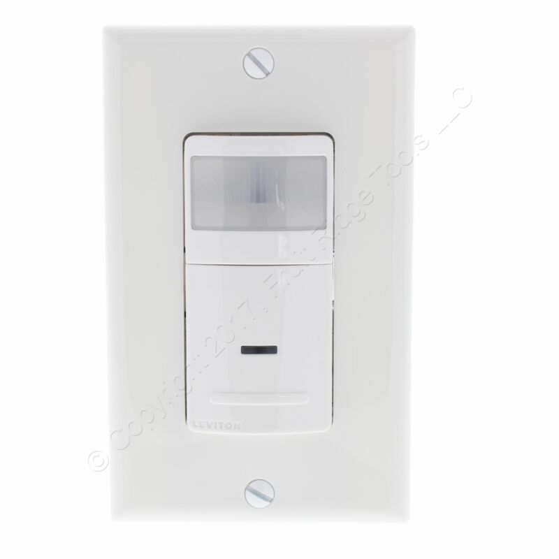 Leviton White Relay Occupancy Sensor 1-Pole Wall Light Switch 900Sq Ft IPS02-HLW