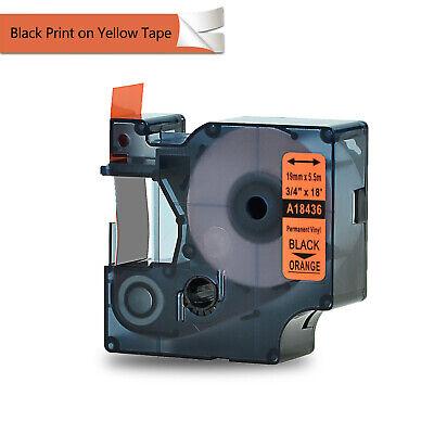 1pk Black On Orange 18436 Ind Vinyl Label Tape 19mm For Dymo Rhino 5000 5200