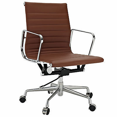Eames Office Chair Ribbed Mid Low Back Aluminum Group Reproduction Leather Brown