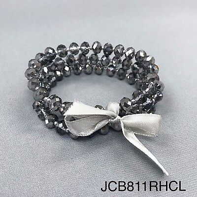 Bohemian Style Silver and Black Toned Small Beads Stretch Bangle Bracelet Set - Silver And Black