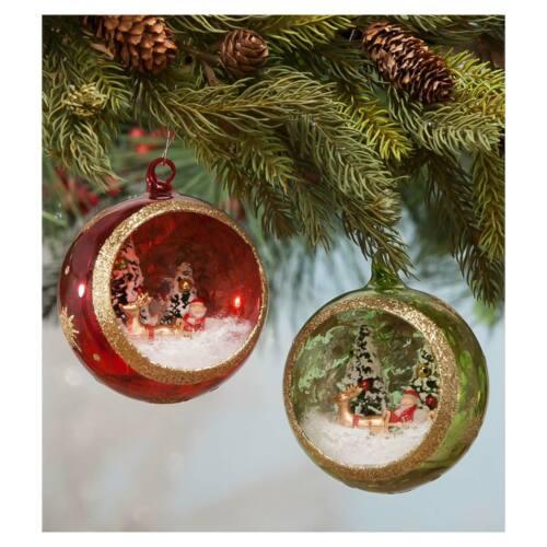 "Set/2 3"" Bethany Lowe Santa Globe Glass Ball Xmas Diorama Ornaments Vntg Decor"
