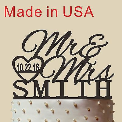 """Personalized Wedding Cake Topper, Acrylic, Mr and Mrs Cake Topper,Made in USA 5"""""""
