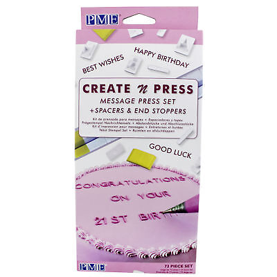 PME Create N Press Message Set Cake Icing Cutter Impression Decorating Imprint