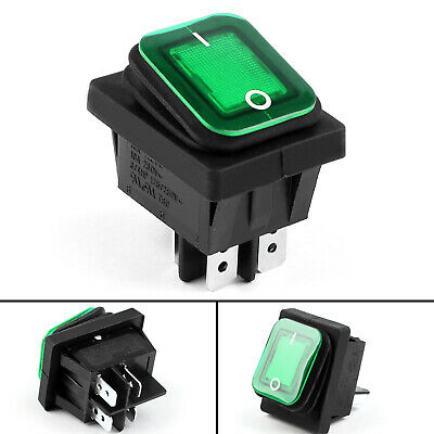 4pcs Rleil Rl2-102 Waterproof Ip65 Car Rocker Switch 4pin 125250vac Green Us