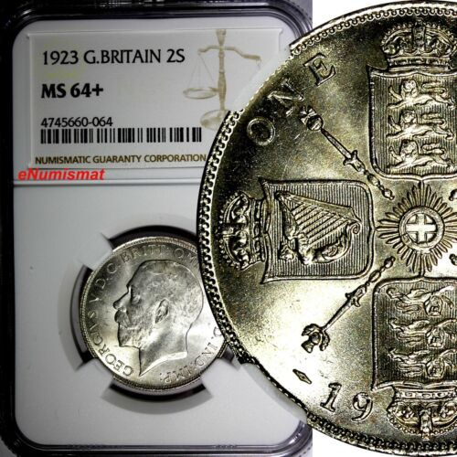 GREAT BRITAIN George V Silver 1923 1 FLORIN NGC MS64+ TOP GRADED BY NGC KM# 817a