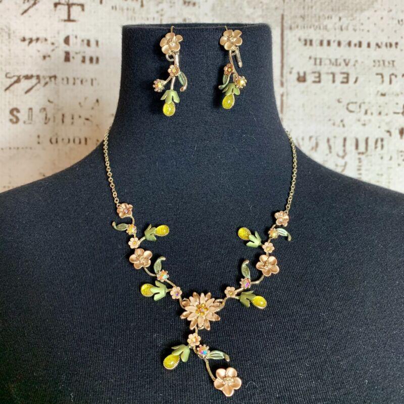 Vintage Floral Necklace & Earring Set statement Piece
