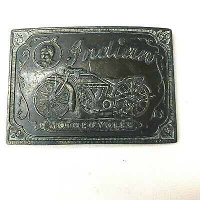 Vintage Indian Motorcycle Brass Chief Belt Buckle Bike Engraved Biker Ride 1970s