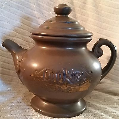 MCCOY Teapot Cookie Jar USA Coffee Pot Kettle Pitcher Gray Gold Accent