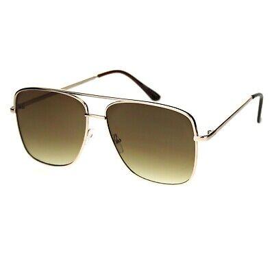 Square Navigator Sunglasses Unisex Fashion Oversized Metal Frame UV (Fashion Metal)