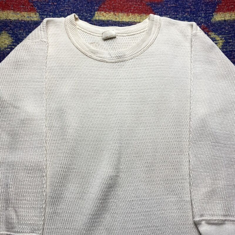 1970s JC Penneys White Thermal Under Shirt Long Sleeve Vintage Penneys L