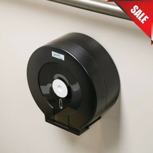 "9"" Single Roll Black Jumbo Toilet Single Tissue Roll Dispenser Wall Mounted Key"