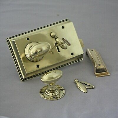 RECLAIMED VINTAGE STYLE  BRASS DOOR KNOBS 2 INCH RIM LOCK RESTORATION Victorian