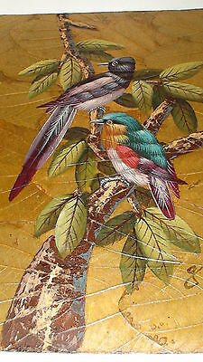 ART DECO GRIS  AUDUBON BIRDS OF PARADISE OIL ON LEAF ON BOARD  2 0F 7   D
