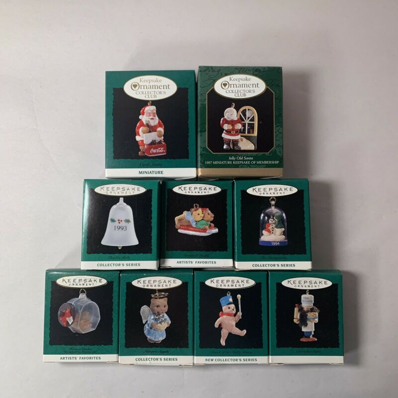 Hallmark Miniature Ornament Keepsake Lot of 9x 1990's Misc. Collections