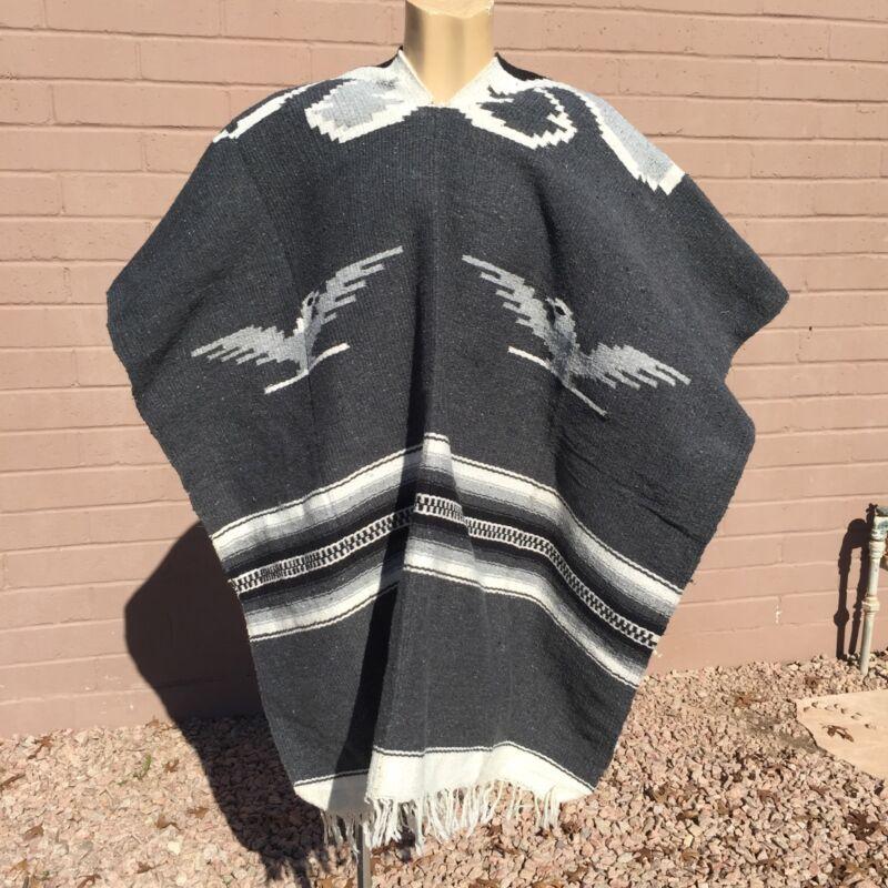 Mexican Poncho Gray White Stripes Thunderbirds Western Pullover Blanket Coat VTG