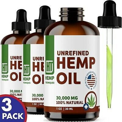 3 Pack  Hemp Oil Extract For Pain Relief Anxiety, Sleep 30000 mg