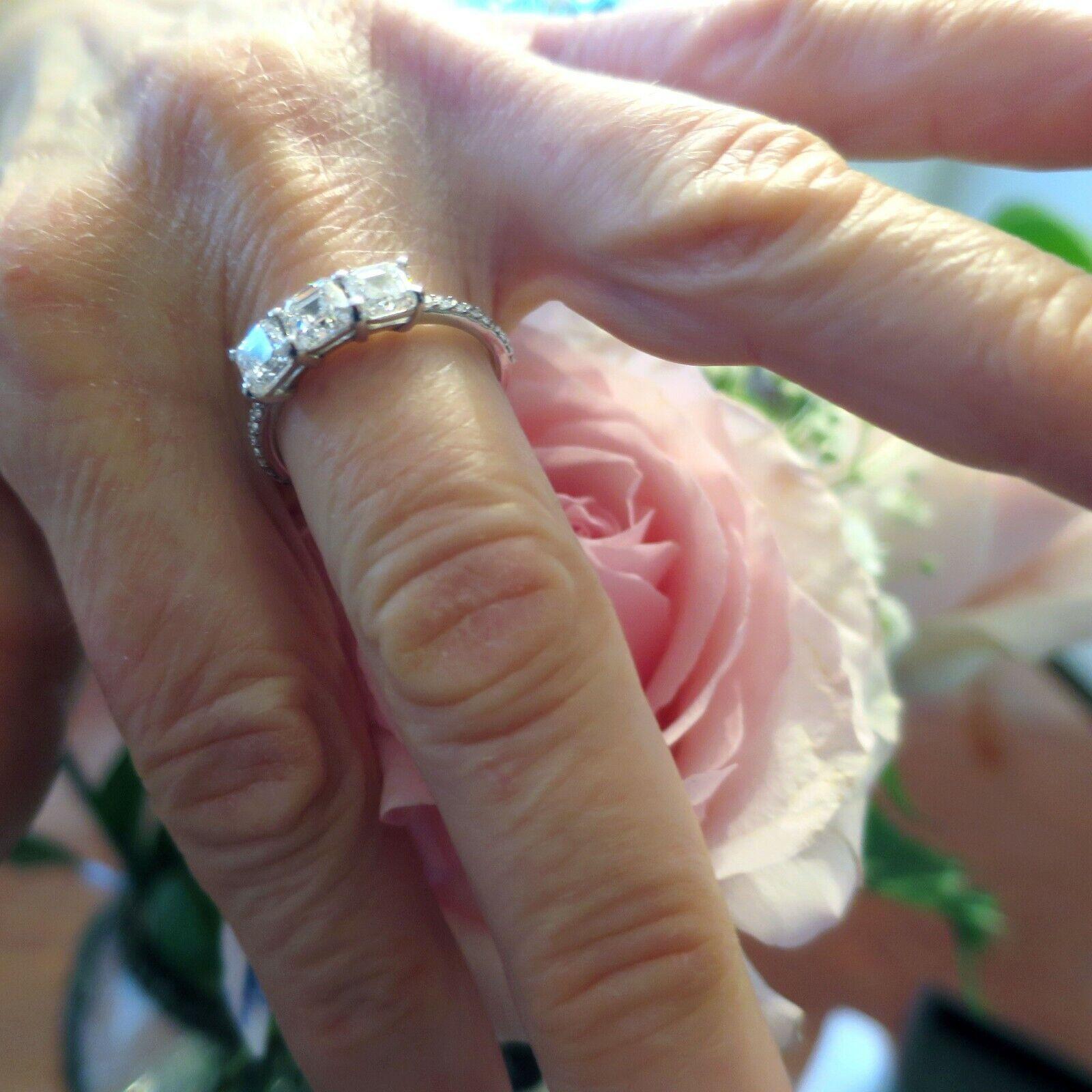 2 ct 3 Asscher cut Diamond Engagement Ring GIA E VS1 14k White Gold Band #115 4
