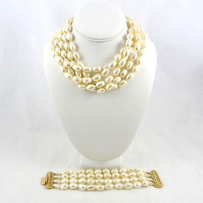Carolee Set Bracelet - Vintage Carolee Faux Pearl Multi Strand Choker Necklace Bracelet Set