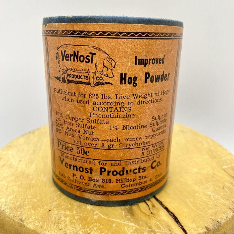 Vintage VERNOST MOST IMPROVED HOG POWDER VETERINARY MEDICINE ADVERTISING - FULL