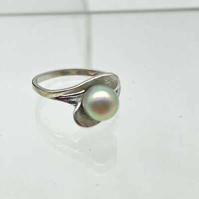 1940s Jewelry Styles and History Antique 1940s Natural GREY WHITE Pearl 10k White Gold Ring RETRO VINTAGE $109.99 AT vintagedancer.com