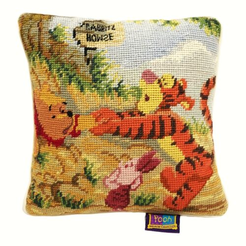 Disney Winnie the Pooh Needlepoint Pillow 9x9 Tiger Piglet 100 Acre Collection