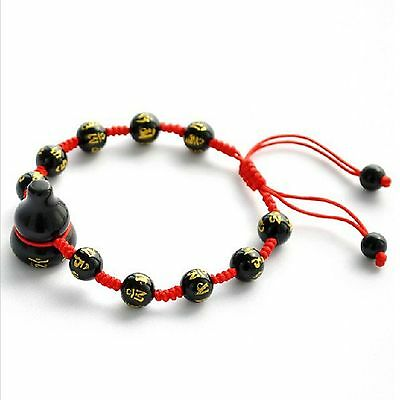 Feng Shui Obsidian beads Om Mani Padme Hum Wu Lou Hu Lu Gourd bracelet amulet