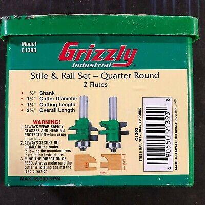 Grizzly C1393 Carbide Tipped Quarter Round Stile Rail Set With 12-inch Shank