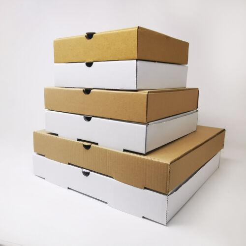 Takeaway Pizza Boxes - Plain Kraft/White Foldover E-Flute Design - 7