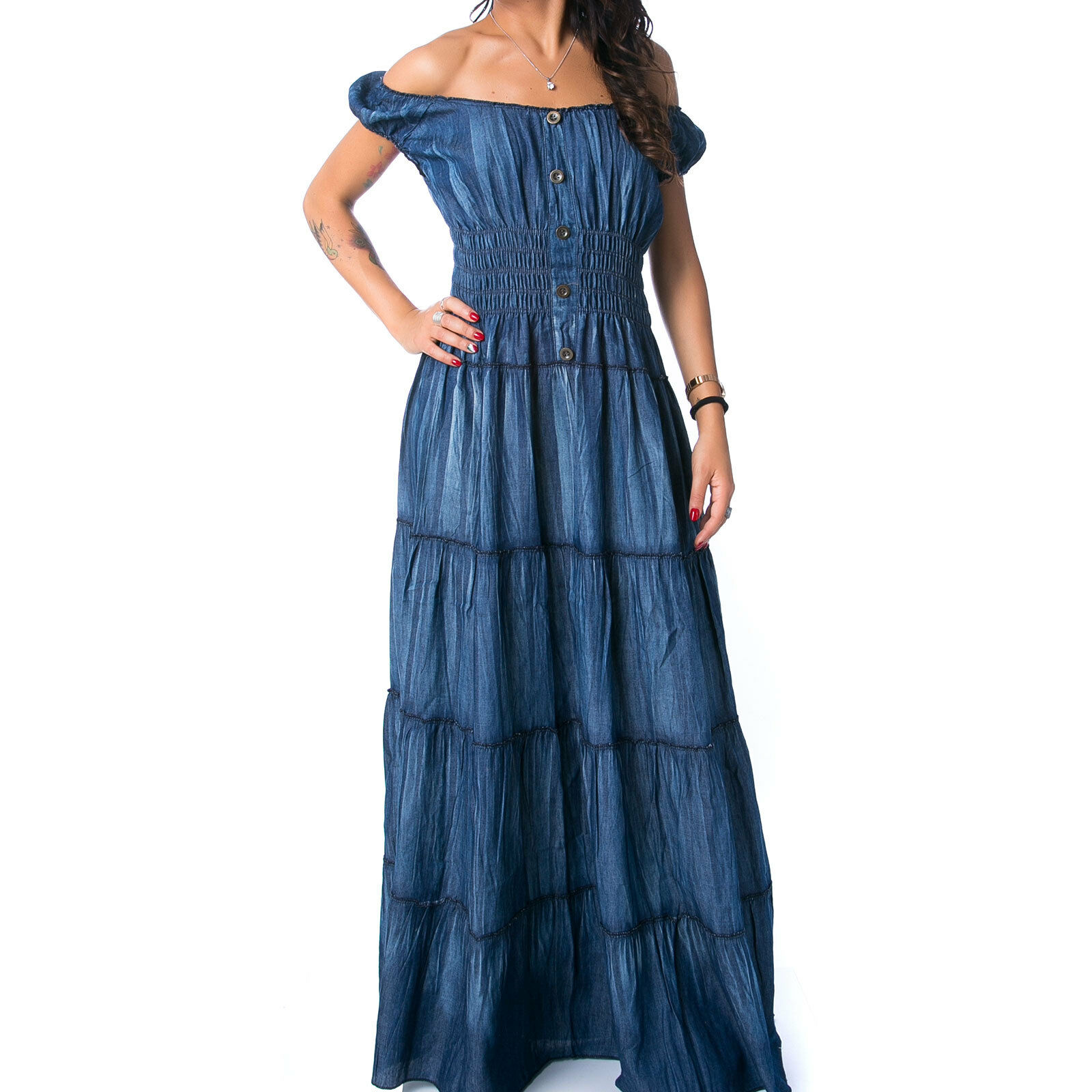 vestito vestitino abito lungo jeans elastico bandeau zingara gitana 607 ff50a53e409
