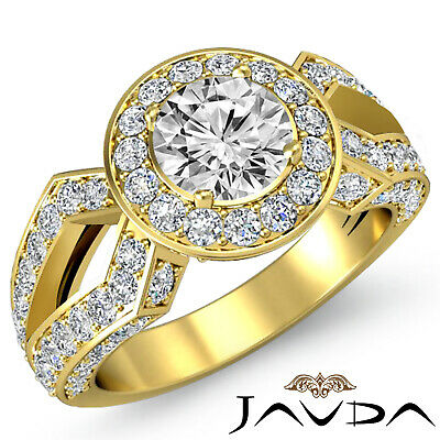 100% Natural Round Diamond Engagement Split Shank Pave Set Ring GIA H VS1 2.9Ct
