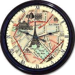 Paris France Street Map Wall Clock Eiffel Tower Tracadero Palais Jardins Guimet