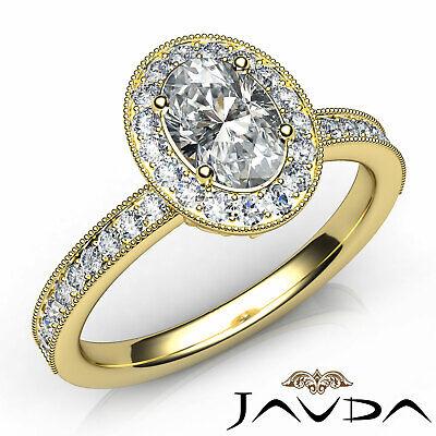 Bezel Set Milgrain Edge Halo Oval Diamond Engagement GIA F VS1 Clarity Ring 1Ct 6