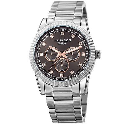 Men's Akribos XXIV AK958SSGY Silver 12 Diamond Hour Marker Link Bracelet Watch