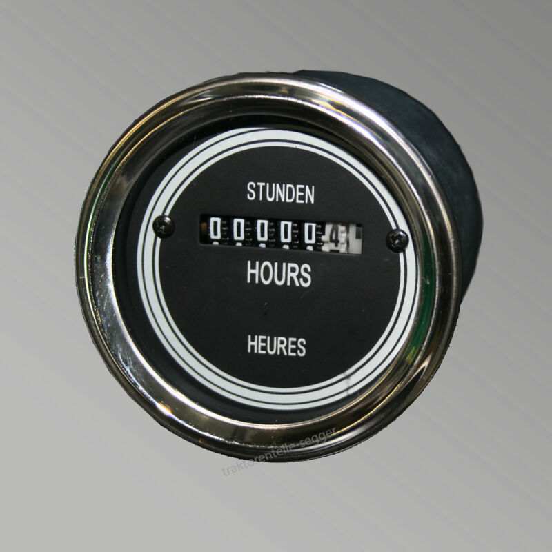 Betriebsstundenzähler Stundenzähler 60,0 mm elektrisch Traktor schwarz 518 Foto 1