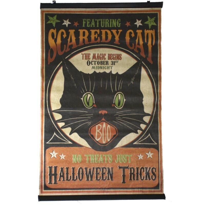 "37"" Bethany Lowe Black Cat Scroll Wall Sign Halloween Retro Vintage Style Decor"