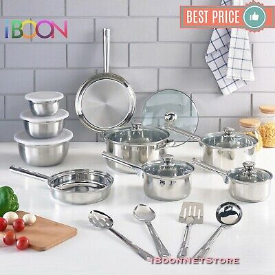 NON STICK COOKWARE SET Stainless Steel 18 Piece 10 Pieces NEW Pots and Pans - Pots And Pans Sets
