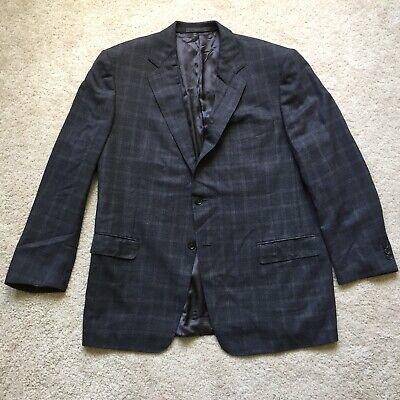 Ermenegildo Zegna Gray Windowpane 2-button No Vent Wool Sport Coat Mens 48R