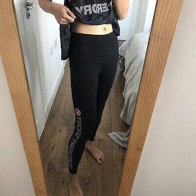 Superdry Black Logo Sports Gym Leggings Pants Size XS