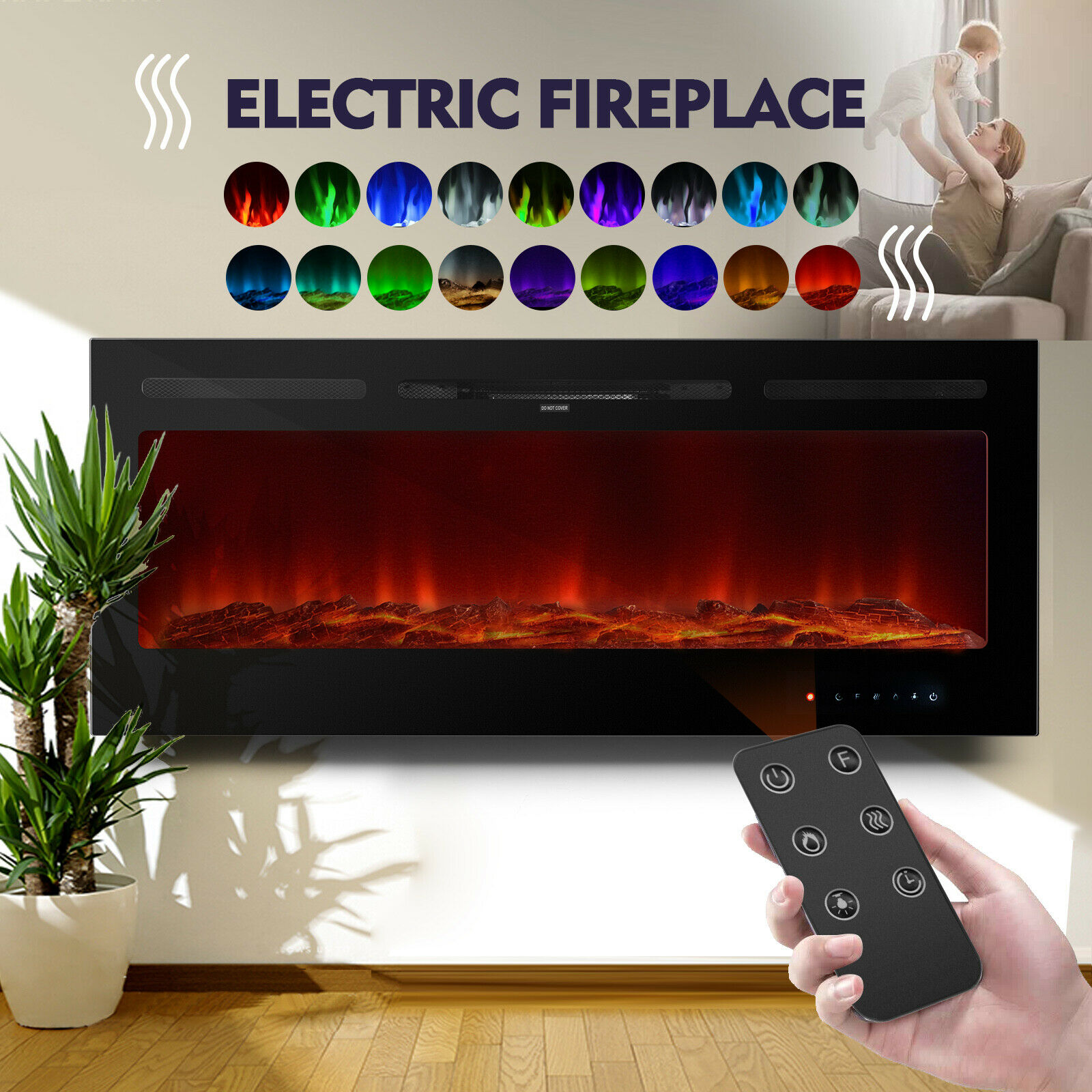 50 touch 1500w electric fireplace heater recessed